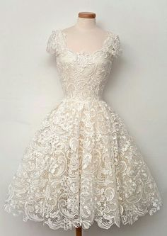 Vintage 1950's Ivory Lace Knee Length Wedding Dress Ball Gown Beach Bridal Gowns More
