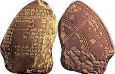 A broken calendar form ancient Mesopotamia.  The Mesopotamian people were good at astronomy and developed the first calendar which lead to the modern calendar.