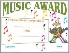 Musical Notes Award Certificate Template