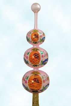 Christopher Radko Christmas Ornaments, Colonial Finial - Pink, 1996, 95-310-1, 4 Tier, Orange pineapples, blue flowers & pink lili valley flowers on vine, Mint with Tag, Box