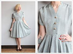 1950s Dress // Silver Silk Dress // vintage 50s party dress
