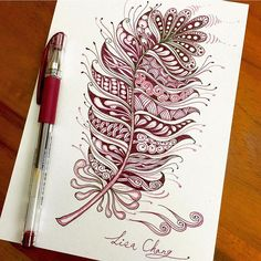 Lisa Chang 張婉琪: zentangle - mandala - plume Feather Drawing, Feather Art, Red Feather, Doodles Zentangles, Zentangle Patterns, Zen Doodle, Tangle Doodle, Doodle Paint, Flower Artwork