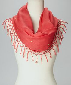 This Pink & Yellow Fringe Floral Infinity Scarf is perfect! #zulilyfinds