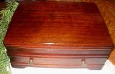 Vintage Mahogany Silverware Box with by TimelessAndTreasures