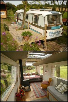 caravan design 91972017370203860 - Old Bus Turned Into a Chic and Cozy Home! Source by ausobn Caravan Living, Bus Living, School Bus House, Kombi Motorhome, Converted Bus, Foto Transfer, Van Home, Bus Life, Backyard Retreat