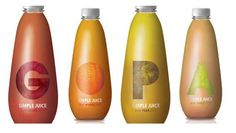 The first letter of the fruit's name with the texture of the fruit as background, a great concept packaging by Clara Cabral de Sousa. Branding And Packaging, Juice Packaging, Simple Packaging, Beverage Packaging, Bottle Packaging, Print Packaging, Juice Branding, Design Packaging, Product Packaging