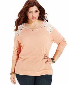 American Rag Plus Size Top, Long-Sleeve Lace Beaded - Junior Plus Sizes - Plus Sizes - Macy's