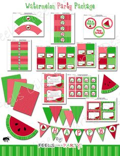 Custom Watermelon Party Pack Printable by FeelsLikeAParty on Etsy, $35.00