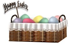 Easter egg basket greeting, Osterkorb mit Eiern