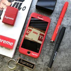 ブランド シュプリーム iPhoneフルカバーケース ストラップ付き Supreme iphone7ケース 全面保護 ガラスフィルム付き 頑丈