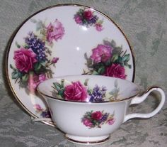 Set of 2 Bone China English Tea Cups