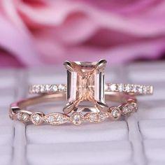 Emerald Cut Morganite Engagement Ring Sets Pave Diamond Wedding 14K Rose Gold 6x8mm