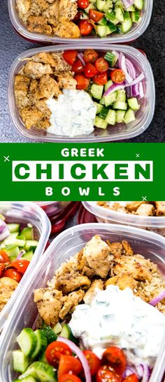 Greek Marinated Chicken, Tzatziki, and Cucumber Salad make for an awesome meal prep bowl with tons of flavor. - The ingredients and how to make it please visit the website #Greek #Chicken #Bowls #MealPrep #dinner #fast #recipes Recipes Using Cooked Chicken, Cheap Chicken Recipes, Summer Chicken Recipes, Canned Chicken, Healthy Dinner Recipes, Fast Recipes, Rice Recipes, Vegetable Recipes, Healthy Meals
