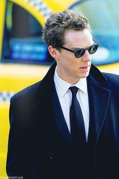 Benedict Cumberbatch filming the Patrick Melrose series.