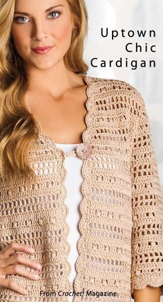 "crochet ""Uptown Chic Cardigan from the Spring 2014 issue вязание Crochet! Order a digital copy here: www. Crochet Bolero, Gilet Crochet, Crochet Coat, Crochet Cardigan Pattern, Crochet Jacket, Vest Pattern, Crochet Blouse, Diy Crochet, Crochet Clothes"