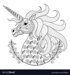 mandala eines pferdekopfs mit wehender mähne | gratis