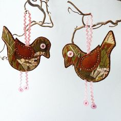 Retro Bird  Olive Green and Brown hanging decoration