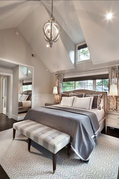 Warm neutrals are working oh so well in the fantastic bedroom!! From Home Bunch - Farrow & Ball Paint Colors. Farrow & Ball Cornforth White 228. Finish is Estate Emulsion. Paint Color is Farrow & Ball Cornforth White 228.