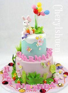 Love the placing of the name and happy birthday. Pretty Cakes, Cute Cakes, Easter Birthday Party, Birthday Cakes, Happy Birthday, Fondant Cakes, Cupcake Cakes, Easter Cupcakes, Easter Cake