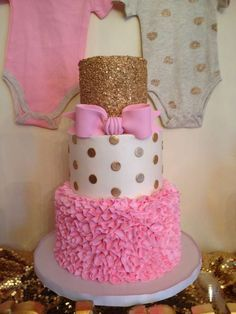 Fantastic cake at a pink and gold baby shower party! See more party ideas at CatchMyParty.com!