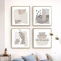 Mid-Century Art Set Of 4 Prints Abstract Shapes Scandinavian Poster Geometric Art Gray Wall Art Down Geometric Painting, Abstract Shapes, Geometric Art, Abstract Portrait, Painting Abstract, Painting Art, Watercolor Painting, Design Lounge, Chair Design