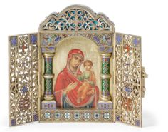 A Russian Gilded Silver and Enamel Triptych Icon of the Smolensk Mother of God, Antip Kuzmichev, Moscow; retailed by Ovchinnikov, 1892