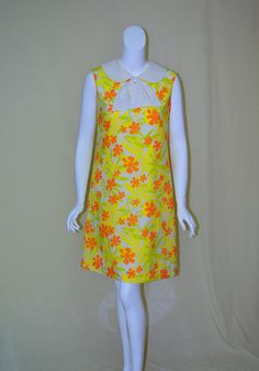 Vintage 1960s Fritzi of California Sleevelss A-line Dress - Yellow Orange Green Whipped Cream Polyester Shift