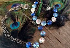 Shades of Blue Crystal Cup Chain Necklace & by OhMyBlingAndThings