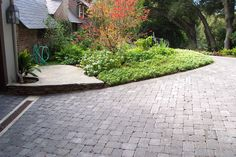 Traditional paving ideas suited to applications requiring a minimum depth of flag or block for vehicular use. Description from landscapinggallery.info. I searched for this on bing.com/images