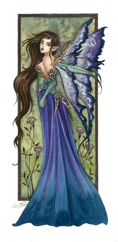 Amy Brown Print SIGNED Limited Edition Fairy Faery Fae 5 LE/150 5.5x11 Blue