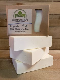 Organic Dog Shampoo bars are thoughtfully formulated with organic neem and karanja oils, which act as natural insecticides, pesticides and an antiseptic to help prevent a dogs skin from fleas, ticks and other environmental damage due to natures elements. The added luxury oils like avocado leave the coat surprisingly soft with organic shea butter - with a touch of vitamin E. The geranium and lavender essential oil blend will stimulate the senses, leaving behind a faint floral scent (which is… Natural Insecticide, Dog Shampoo, Vegan Soap, Neem Oil, Organic Coconut Oil, Essential Oil Blends, Vitamin E, Bio, Shea Butter