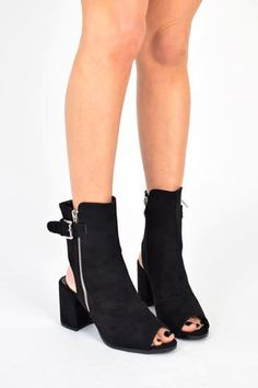 bf1c480a05 MIA Open Peep Toe Sock Fit Buckle Up Ankle Boots - Black Suede - AJ Voyage  - 1