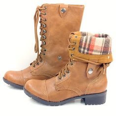Oralee Tan P Leather Foldable Women Combat Boots Laced Up Soda Shoes | eBay