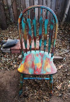 Fun and Vintage! Colorful Shabby Cottage Chic Spindle Back Fanback Windsor CHAIR Blue Red Yellow Vintage Antique Distressed Painted by FunAndVintageFinds on Etsy https://www.etsy.com/listing/215115299/fun-and-vintage-colorful-shabby-cottage