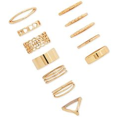 Forever 21 Mixed Midi Ring Set ($5.90) ❤ liked on Polyvore featuring jewelry, rings, gold, gold band ring, filigree band ring, gold midi rings, band rings and twisted band ring