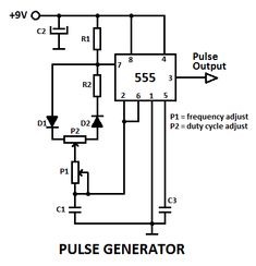 This is a pulse generator with adjustable duty cycle made with the 555 timer IC. The circuit is an astable multivibrator with a pulse duty cycle. Electronics Mini Projects, Electronic Circuit Projects, Electronics Basics, Hobby Electronics, Electrical Projects, Electronic Engineering, Electrical Engineering, Electronics Gadgets, Electronics Components