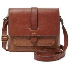 Fossil Kinley Leather Small Crossbody (1 985 ZAR) ❤ liked on Polyvore featuring bags, handbags, shoulder bags, brown, brown leather purse, crossbody purse, brown leather handbag, vintage leather purse and brown leather shoulder bag