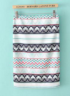 White Geometric Print Knee Length Skirt US$24.43