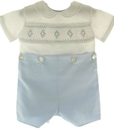 Feltman Brothers Blue White Smocked Bobbie Suit Boys Christening Outfit (3T)