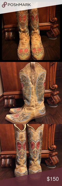 Corral Cowgirl Boots Tan with blue and pinkish red design, pointy toe, size 8, like new, only worn a couple of times Corral Shoes Heeled Boots