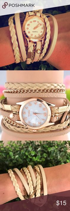 """Light tan wrap watch Brand new in package awesome light tan wrap around cord watch. Has snaps to secure when you have wrapped how you like. Measures 21"""" when laid out. Perfect for someone who doesn't like to typically wear standard watches.   ✨bundle with other listings to save! Ask me how :-) boutique Accessories Watches"""