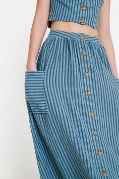 UO Emilia Stripe Button-Through Midi Skirt | Urban Outfitters