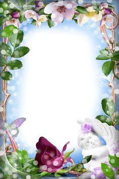 Photo Frame with Angel Frame Border Design, Boarder Designs, Page Borders Design, Photo Frame Design, Rose Frame, Flower Frame, Butterfly Frame, Borders For Paper, Borders And Frames