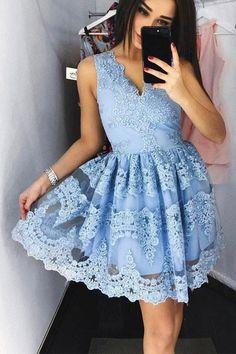 Light Blue Lace V Neck Off the Shoulder Short Prom Dress Homecoming Dresses LD369