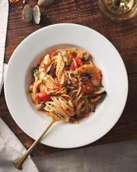 spaghetti with mussels, clams, and shrimp.