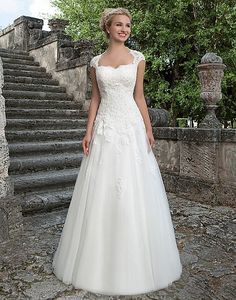 Style 3906: tulle Ball gown embellished by a Queen Anne neckline | Sincerity Bridal