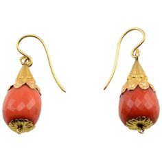 Victorian Natural Coral Bead Earrings