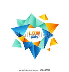 #Colorful #polygonal #crystal #geometric #logo #vector #design #concept #isolated on #white #background. #Modern #icon in #blue and #orange #colors for #corporate #identity of #technological #company #polygons #low #poly #triangles #crystal