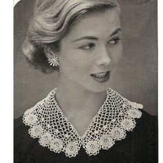 This lovely detachable collar, in Irish Crochet, has lovely roses nestled in the scalloped edges.   The pattern has directions for both both girls and misses.