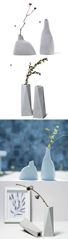 Modern Cement Concrete Vase Art Deco style make for interesting centerpiece ideas